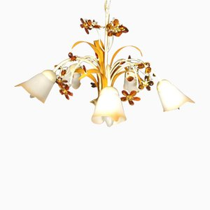 Italian Glass and Metal Chandelier from Emme Pi Light, 1970s