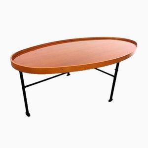 Table Basse Vintage en Merisier et Fer, Italie, 1970s