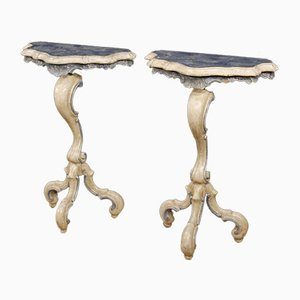 Italian Wood and Marble Console Tables, 1960s, Set of 2