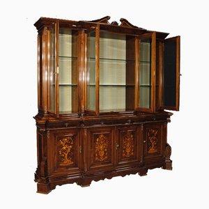 Mueble italiano Mid-Century de vidrio, palisandro y madera nudosa, años 60