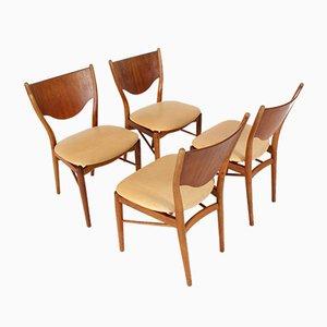 Sedie da pranzo in pelle e teak di Finn Juhl per Bovirke, Danimarca, 1962, set di 4