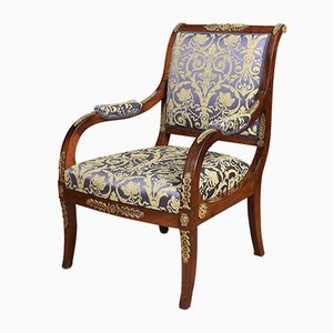 Antique Mahogany and Metal Armchair
