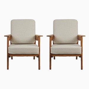 Französische Armlehnstühle aus Eichenholz & Flachs von Pierre Roche für Ateliers Saint Sabin, 1950er, 2er Set