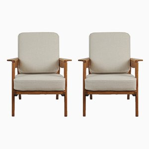 French Oak and Flax Armchairs by Pierre Roche for Ateliers Saint Sabin, 1950s, Set of 2