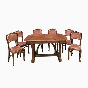 Antikes französisches Set mit Esstisch & 6 Stühlen aus Mahagoni