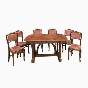 Tavolo da pranzo antico in mogano con sei sedie, Francia
