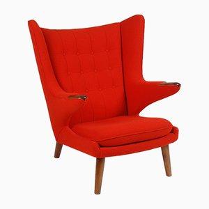 Mid-Century Danish Fabric and Teak Lounge Chair by Hans J. Wegner, 1956