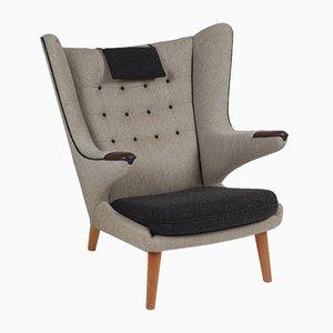 Mid-Century Danish Fabric and Teak Lounge Chair by Hans J. Wegner, 1963