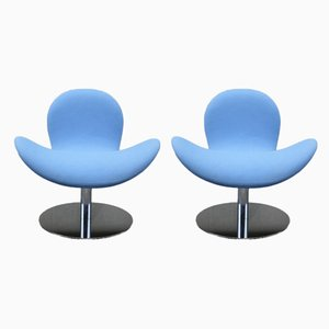 Modernist Chrome Plating & Fabric Swivel Chairs by Geir Saetveit for Martela, 2000s, Set of 2