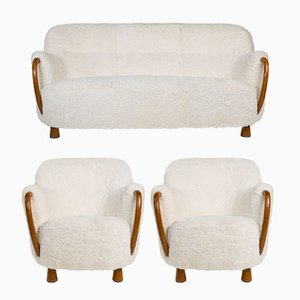 Scandinavian Sheepskin Living Room Set by Viggo Boesen for Slagelse, 1930s