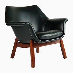 Vintage Model Master Leather & Teak Armchair by Carl Gustaf Hiort af Ornäs for Huonekalu Mikko Nupponen, 1950s