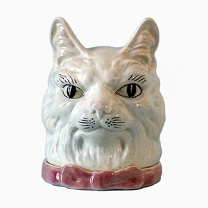 Antique French Majolica Cat Head Jar & Cover from St Clements
