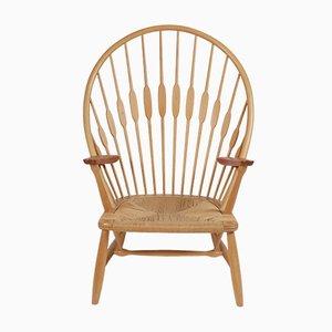 Dänischer Sessel aus Eschenholz von Hans J. Wegner für Johannes Hansen, 1940er