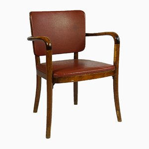 Vintage Birch & Leather Armchair by Werner West for Wilhem Schauman, 1940s