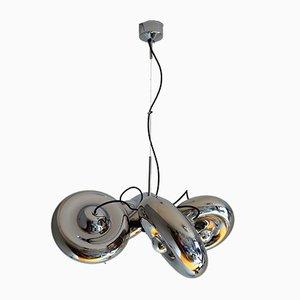 Lámpara de techo italiana de cromo de Luci Milano, años 70