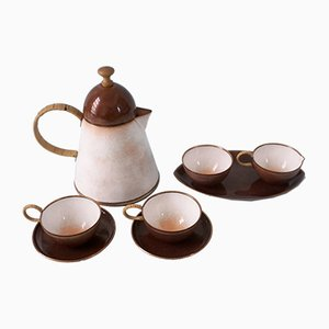 German White Enameled Copper Coffee Serving Set & Tray by Albert Gustav Bunge, 1950s