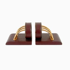 French Art Deco Modernist Oxblood Red Leather & Copper Bookends, 1930s, Set of 2