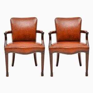 Antike Armlehnstühle aus Leder & Mahagoni, 2er Set