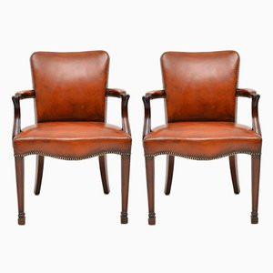 Antique Leather and Mahogany Armchairs, Set of 2
