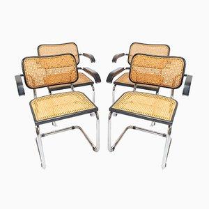 Chaises de Salle à Manger en Bois Courbé et en Jonc par Marcel Breuer pour Thonet, 1970s, Set de 4