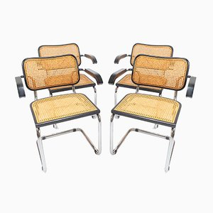 Deutsche Esszimmerstühle aus Bugholz & Schilfrohr von Marcel Breuer für Thonet, 1970er, 4er Set