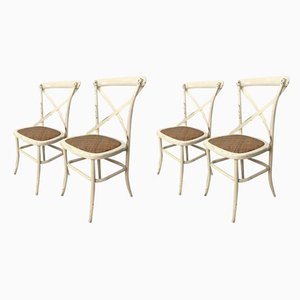 Mid-Century Metal & Wood Garden Chairs, Set of 4
