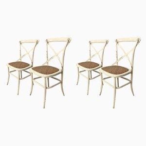 Sedie da giardino Mid-Century in metallo e legno, set di 4