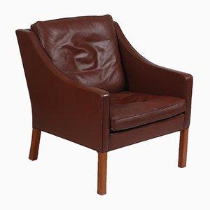 Dänischer Sessel aus Leder und Teakholz von Børge Mogensen für Fredericia, 1978