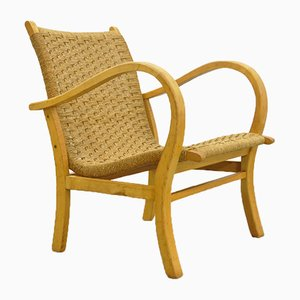 Mid-Century Beech & Rope Armchair from V&D, 1960s