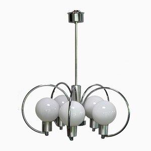 Lámpara de techo Mid-Century cromada y metal