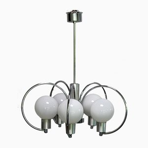 Mid-Century Chrome Plating and Metal Ceiling Lamp