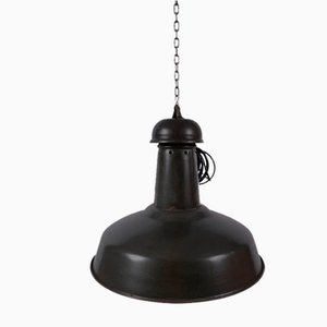 Mid-Century Industrial French Steel Ceiling Lamp, 1950s