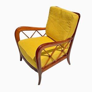 Vintage Italian Beech & Fabric Armchair by Paolo Buffa, 1940s