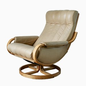 Norwegian Leather and Pine Swivel Chair by Ingmar Relling for Westnofa, 1970s