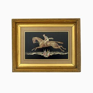 Large Antique French Woven Silk Jockey Wall Panel in Original Gilt Frame by Tassinari & Chatel
