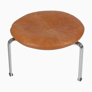 Vintage Leather PK-33 Stool from E. Kold Christensen, 1960s