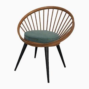 Wood & Velvet Armchair by Yngve Ekström for Swedese, 1960s