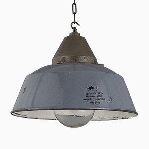 Mid-Century Industrial Enamel & Glass Ceiling Lamp, 1950s