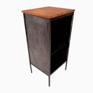 Mid-Century French Metal and Wood Side Table, 1960s