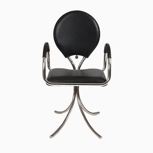 Antique Danish Leather and Steel Stool by Poul Henningsen