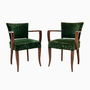 Vintage Art Deco French Wooden Armchairs, 1920s, Set of 2