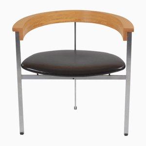 Dänischer Armlehnstuhl aus Leder & Stahl von Poul Kjærholm für Fritz Hansen, 1950er