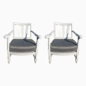 Mid-Century French Wooden Lounge Chairs, 1940s, Set of 2