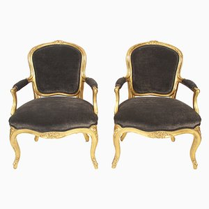 Antique Velvet & Giltwood Salon Chairs, Set of 2