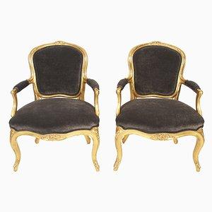 Chaises de Salle à Manger Antiques en Velours & Bois Doré, Set de 2