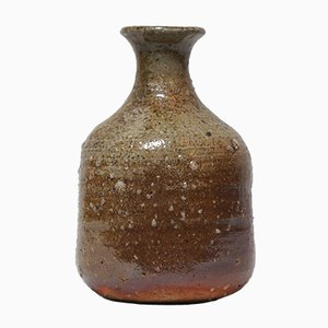 Small Japanese Natural Glaze Ceramic Shigaraki Vase, 1930s