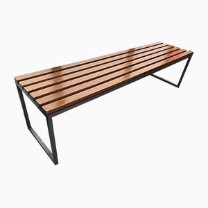 Vintage French Steel Bench, 1990s