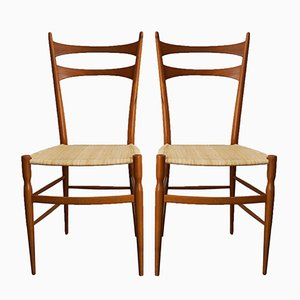Chaises de Salon Chiavari en Jonc et Poirier par Colombo e Sanguinetti, Italie, 1950s, Set de 2
