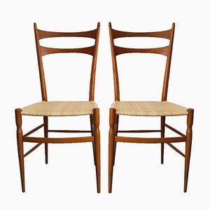 Italienische Chiavari Stühle aus Schilfrohr & Birnbaum von Colombo e Sanguinetti, 1950er, 2er Set