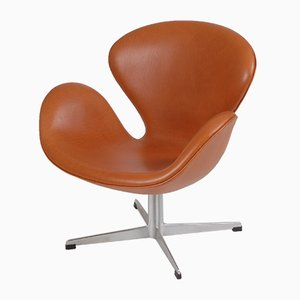 Danish Aniline Leather Swane Lounge Chair by Arne Jacobsen for Fritz Hansen, 1960s